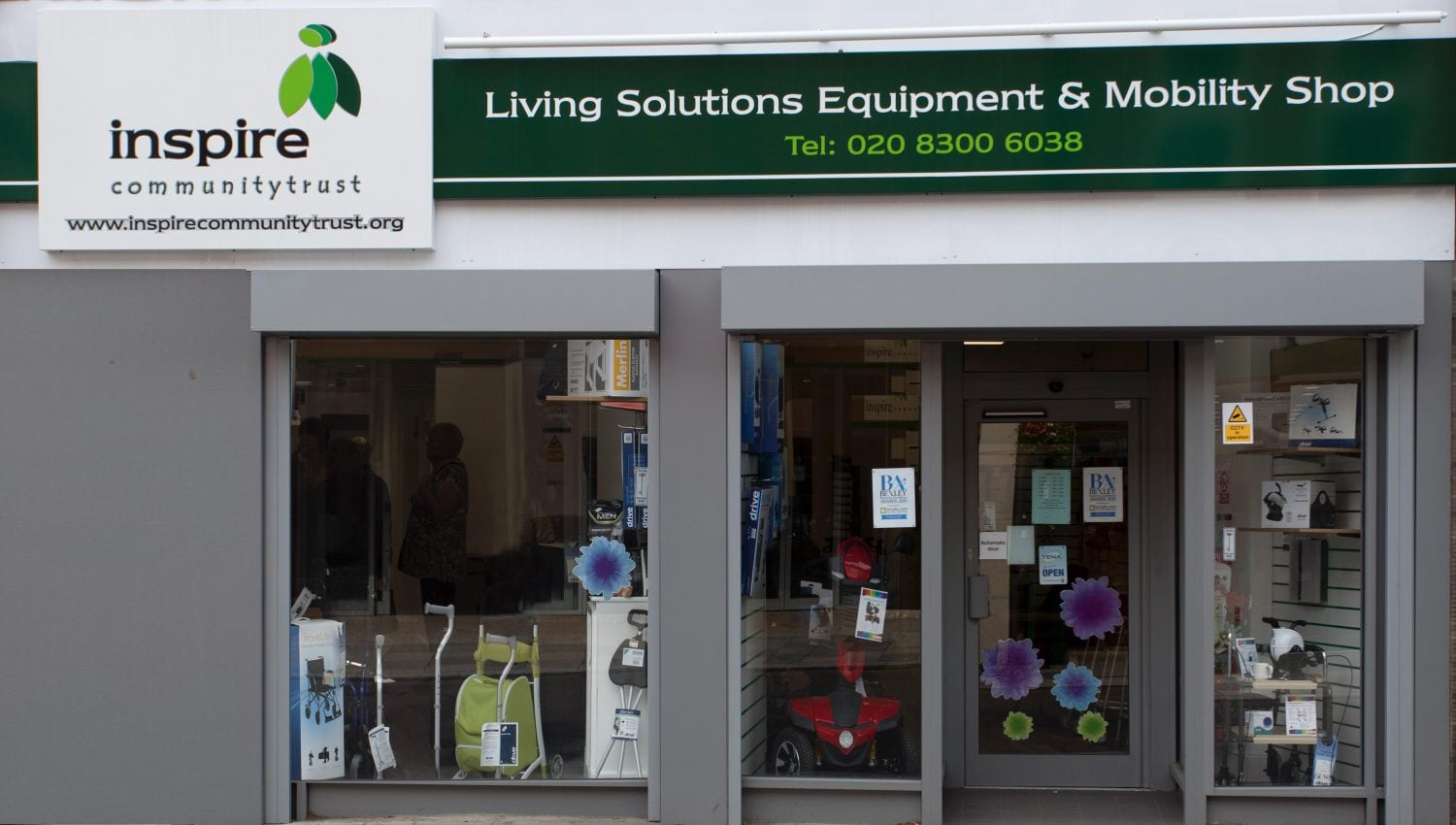 The Inspire Living Solutions Community Equipment & Mobility shop front.